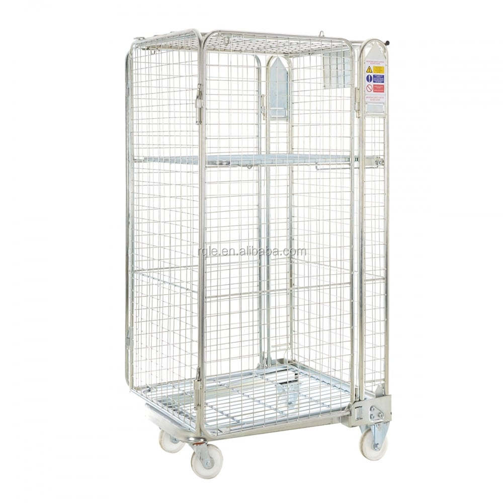 Wholesale Roll Container Large Stainless Steel Four Wheel Folding Cart