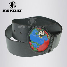 Fashion Black Genuine CowHide Pu Leather Adjustable and Reversible Circle Metal Buckle Mans Womans Belt