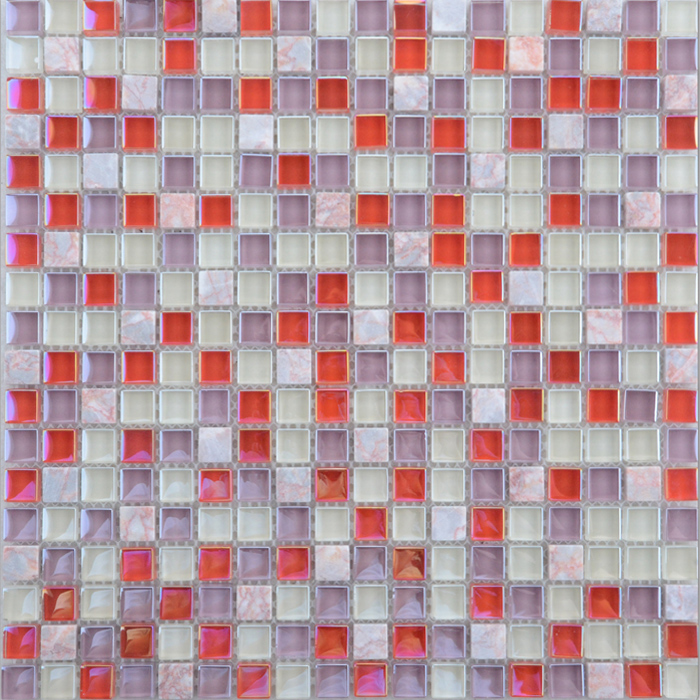 PY002 travertine and glass mosaic for wall,mix color glass mosaic tile