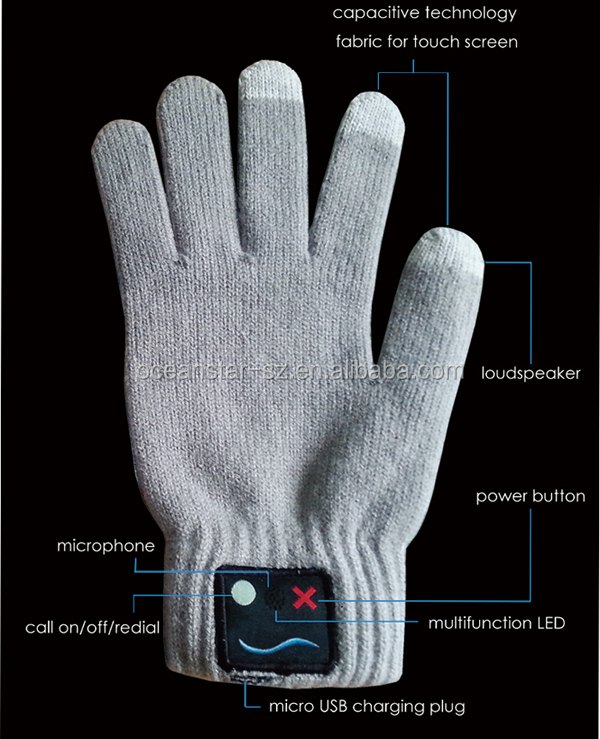 bluetooth gloves with touch screen function/Volume Control