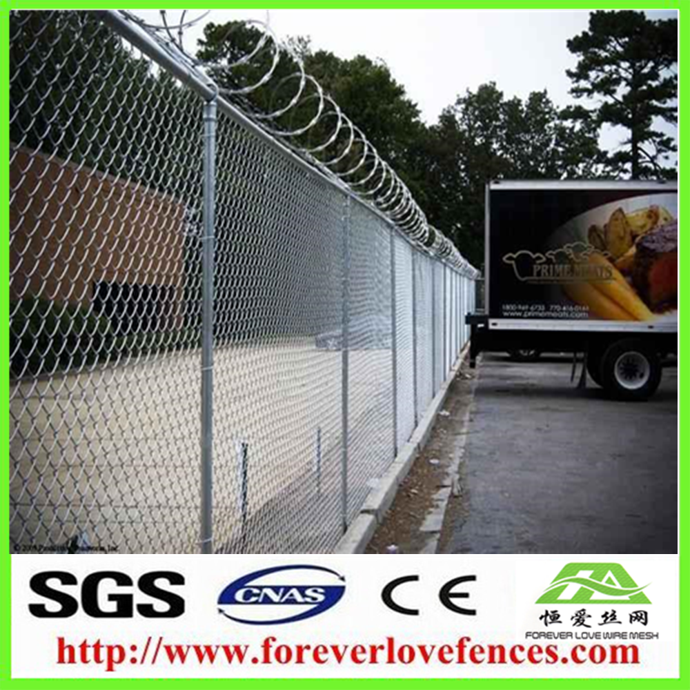 China PVC coated chain link fence with barbed wire for sale