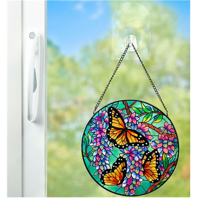 Window butterfly hanging stained crystal glass suncatcher