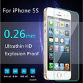 9H 0.26mm Ultra-thin Premium Tempered Glass Screen Protector for iPhone 5g 5s 5c 5 Anti scratch guard + Cleaning tool