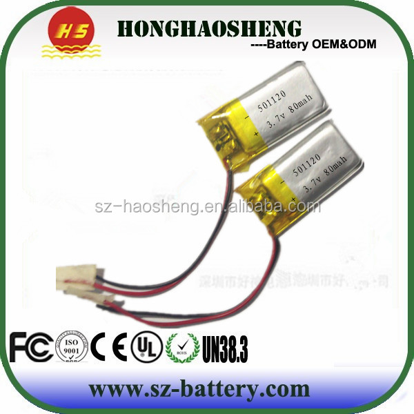 Bluetooth Earphone Li-po Battery 501120 80mah 3.7v Small Battery