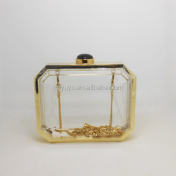 lucite acrylic box hard case with full metal frame see-through look clutch bag for women