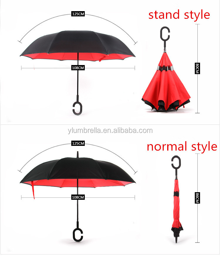 new Invention double layer inside out reverse umbrella with C handle upside down umbrella inverted umbrella