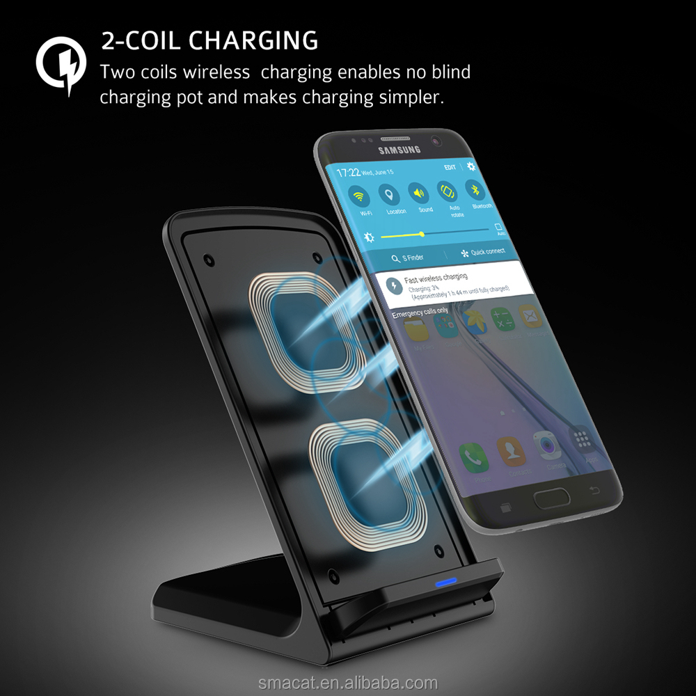 Fast QI Wireless Charger Quick charging mobile stand for Samsung Galaxy S8 Edge