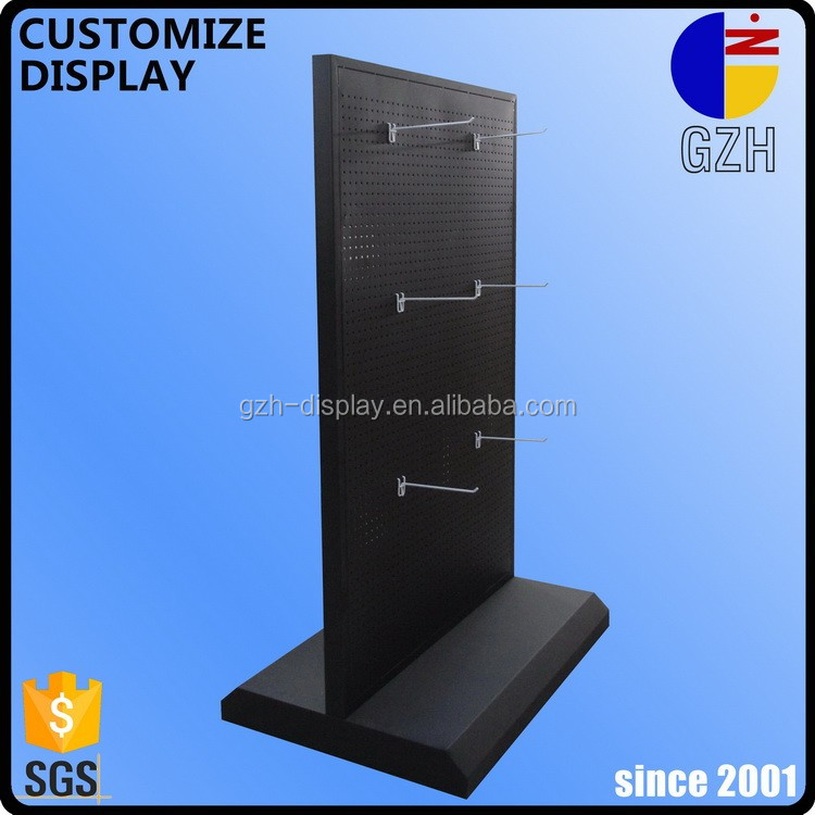 metal frame double-sided pegboard floor standing display racks GZH-258