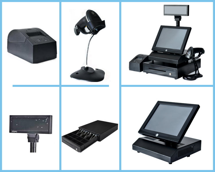12 Inch touch screen pos cash register and barcode scanner