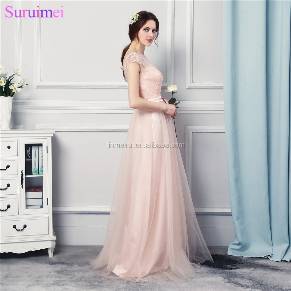 Wedding Event Pearl Pink Bridesmaid Dresses Long Cap Sleeves With High Quality Lace Applique Bow Sash Tulle Maid Of Honor Dress