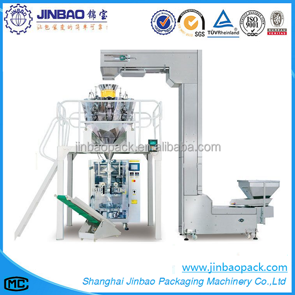 Vertical ffs puffed snack packaging and sealing machine with multihead weigher