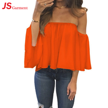 JS 20 Sexy Fashion Women Summer Cotton Blouse Off Shoulder Loose Casual T Shirt Tops 7430