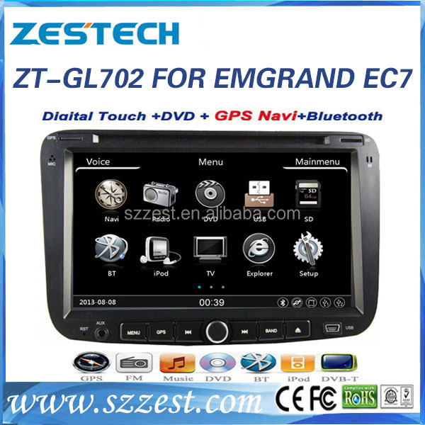 ZESTECH in-dash car dvd for GEELY EMGRAND EC7 touch screen car dvd player with gps navigation system and car multimedia system