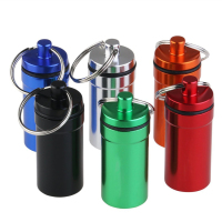 Waterproof Pill Holder Box Case Bottle Keychain Container Aluminum