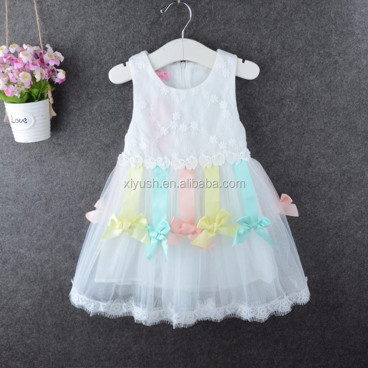 Customize Various Sizes baby girls machine embroidery party dress design