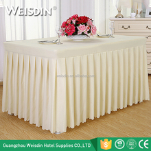 100% polyester white wedding meeting decorative ruffled table skirt