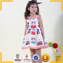 Vogue european style cats printed sleeveless dress for children