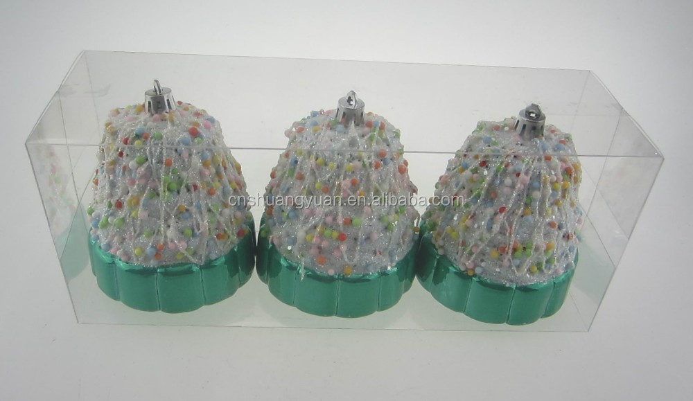 Plastic cake shape christmas decorations balls