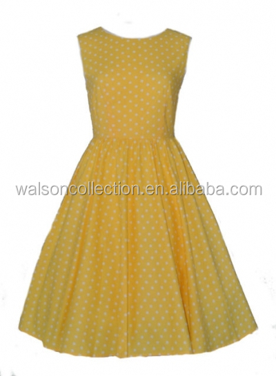 vintage Girl dress yellow rockabilly dresses used clothing plus size 6XL dresses for women