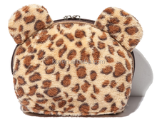 Leopard print lint material soft comfortable cosmetic pouch bag