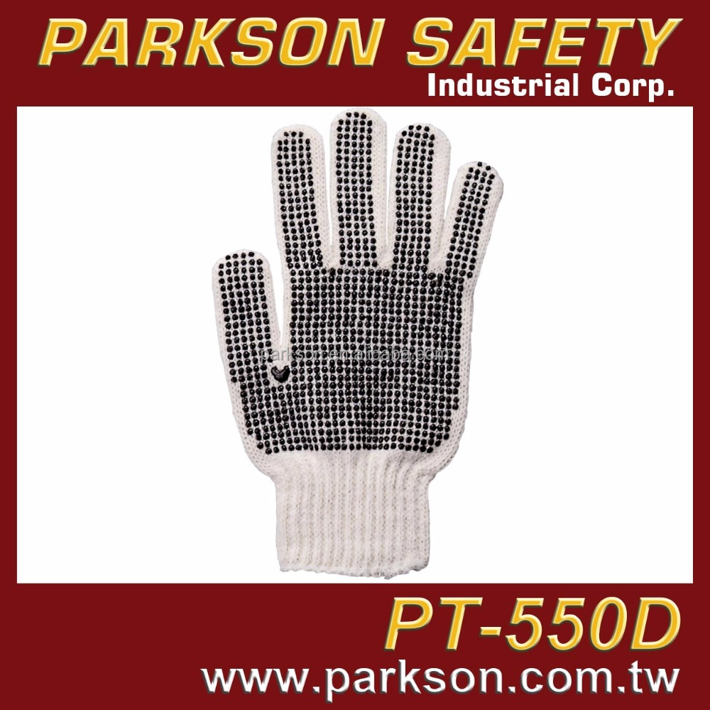 PARKSON SAFETY Taiwan Special Dot Design Mixing Cotton Polyester Anti Slip Working Knitting Gloves PT-550D