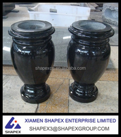 African black granite flower vases for gravestone