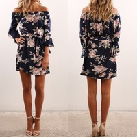 X62268A Women Summer Off-Shoulder Floral Bandage Casual Beach Mini Dress