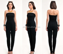 C21003B Plain Black European Ladies Sexy Jumpsuit Women Pants