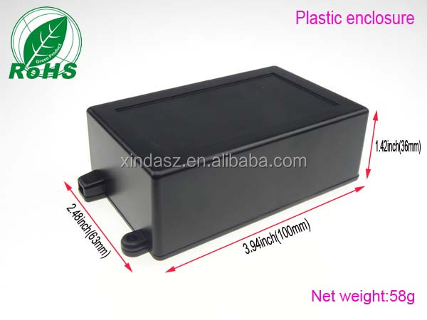 Custom make plastic material outdoor stereo enclosure 100*63*36mm for pcb board
