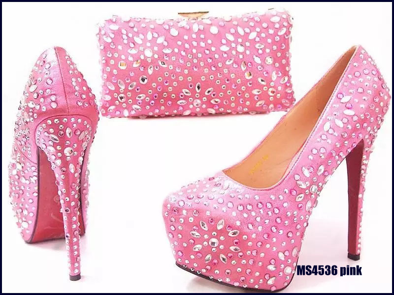 MS4536 Pink summer african women shoes and bags italy stones high <strong>heels</strong> with purse