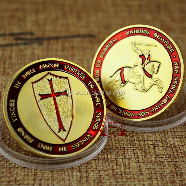 """Cross Shield, Knights"" new Coin, Golden Red High quality cheap wholesale custom challenge gold custom coin"