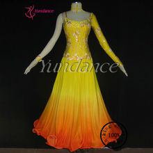 Noble Purple Professional Customizing High-grade Dance Costume Stage Wear Royal Yellow B-11144