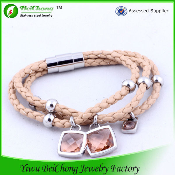 Gifts Jewelry Glass Bead Bracelet Brown Leather Bracelet for lady S5-0207