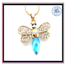 fashion beautiful Bee Blue Crystal Ladies Pendant Woman's Necklace