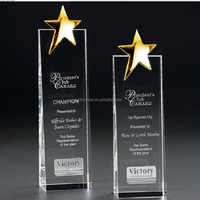 top quality golden star crystal trophy MH-NJ00276