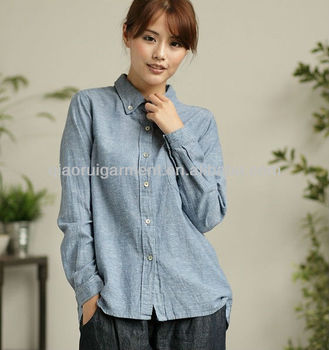 100%Linen high quality Organic washed casual shirts for women/ladies with button-down collar and one pocket