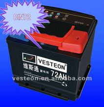 Maintenance free auto car battery 12V DIN72 72ah