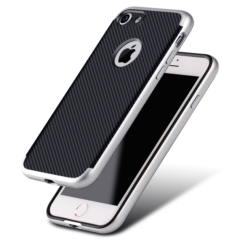 for iPhone 7 bumper case Hard PC + Soft TPU Carbon fiber back cover phone cases for Apple iphone 7