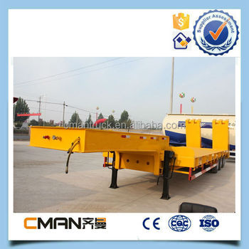 New china 3 axle 60 tons low bed truck trailer with free spare parts