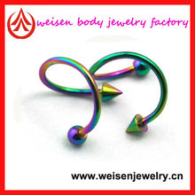 stainless steel titanium spiral barbell nose ring/ear/eyebrow