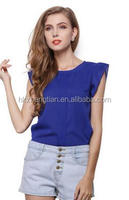 Walson top sales beautiful clothes Chiffon Sleeveless O-Neck Casual Shirt Tops Blouse for woman S-XL 16287