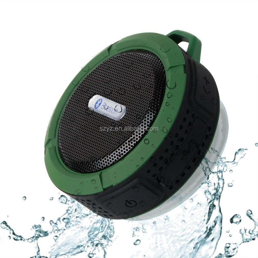 C6 Waterproof Outdoor Portable Wireless Bluetooth Speaker with Sucker For Shower Mini Speaker Support TF USB FM Radio