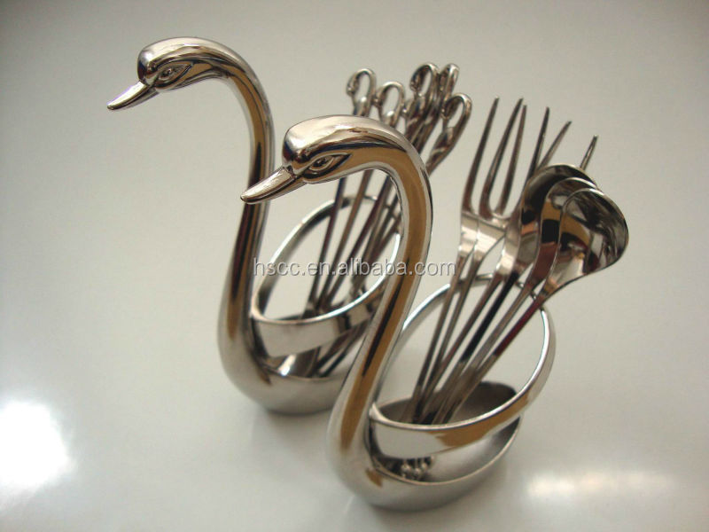 Newest Fashion High Quality Stainless Steel Elegant 6pcs/set Swan Spoon And Fork