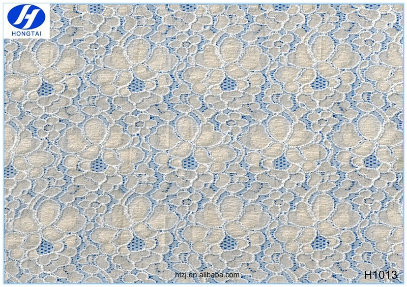 2016 Hongtai designer bridal fabric bonded french lace fabric for wedding dress