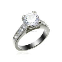 Stock Available Sterling Silver Big Diamond Imitate Wedding Ring for Bride