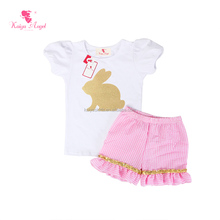 Wholesale unique clothes girls cute rabbit stamped shirts for Easter