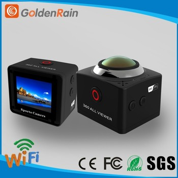 Full viewer 3D video with VR mode 8.0 MP CMOS Sensor IMX179 360 degree wifi sport action camera panoramic camera