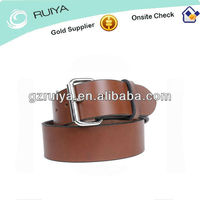 The Harness Leather Belt- Silver Roller Buckle in Nickle Plated Solid Brass for Mens-- Canyon Brown