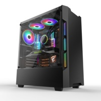 Flowing RGB light gaming ATX 4.0mm Tempered Glass desktop CPU gaming computer case