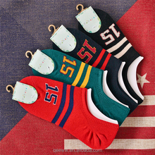 Wholesale man's multi color fashionable striped ankle invisible boat sock no show sock make your own socks